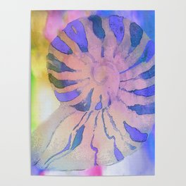 NAUTILUS SEA SHELL BLUE AND PURPLE IMPRESSIONS Poster