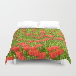 tulips field Duvet Cover