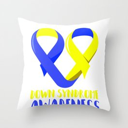 Ribbon Heart Down Syndrome Awareness design Gift For Moms Throw Pillow
