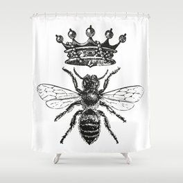 Queen Bee | Vintage Bee with Crown | Black and White | Shower Curtain