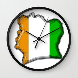 Ivory Coast Cote d'Ivoire Map with Flag Wall Clock