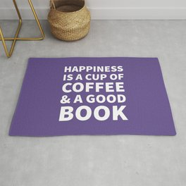 Happiness is a Cup of Coffee & a Good Book (Ultra Violet) Rug