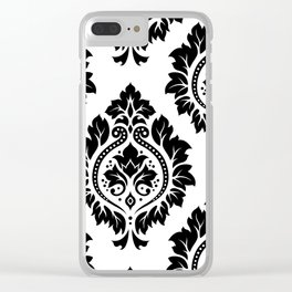 Decorative Damask Art I Black on White Clear iPhone Case