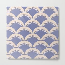 Japanese Fan Pattern Lavender and Beige Metal Print