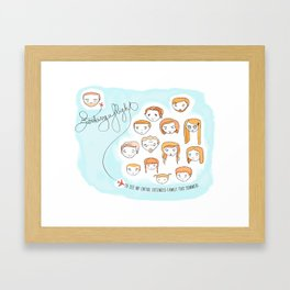 Booking a flight to see my entire extended family | By: Melissa Medwyk Framed Art Print