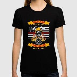 Wildland Firefighter Hero Thin Red Line Smokejumper Gift T-shirt