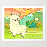 alpaca Art Prints featuring Alpaca by My Zoetrope
