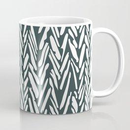 Dark green herringbone pattern Coffee Mug