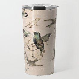 Vintage Grunge Birds Travel Mug