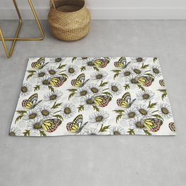 Jezebel butterflies and daisy flowers on white Rug
