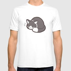 Sleepy Kitty Mens Fitted Tee White SMALL