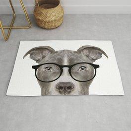 Pit bull with glasses Dog illustration original painting print Rug