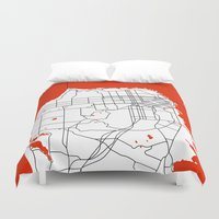 san francisco map Duvet Covers featuring District San Francisco Map by Studio Tesouro