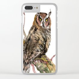 Owl in the woods, brown owl illustration Clear iPhone Case