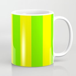 Bright Neon Green and Yellow Vertical Cabana Tent Stripes Coffee Mug