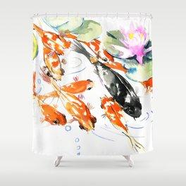 Nine Koi Fish, 9 KOI, feng shui artwork asian watercolor ink painting Shower Curtain