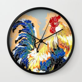 Paint 04 Chuck Funky Rooster Painting Wall Clock