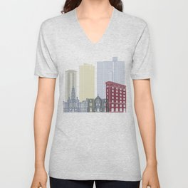 Fort Worth skyline poster Unisex V-Neck