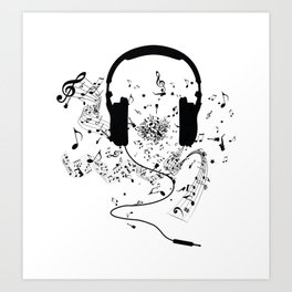 Headphones and Music Notes Art Print