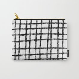 Grid Pattern, Black & White Hand Drawn, Scandinavian Design Carry-All Pouch