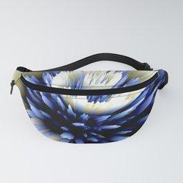 indigo white blue flower digital 3D painting Fanny Pack