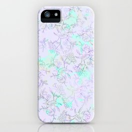 Modern lavender turquoise hand drawn watercolor botanical floral iPhone Case