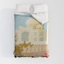Visit India - Taj Mahal - Vintage Travel Poster Duvet Cover