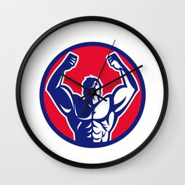Body Builder Flexing Muscles Circle Retro Wall Clock