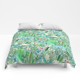 Improbable Botanical with Dinosaurs - soft pastels Comforters