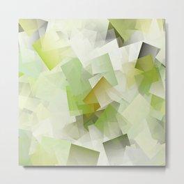 Geometric Stacks Green Metal Print