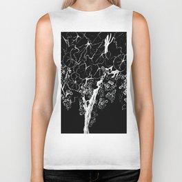 White ink, black cardboard. Vine trees. Grapes. White ink Biker Tank