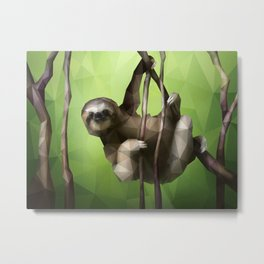 Sloth (Low Poly Lime) Metal Print