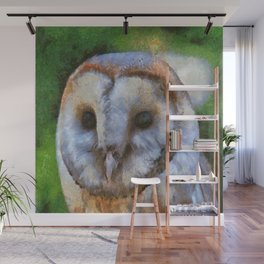 Tawny Owl In The Style of Camille Wall Mural