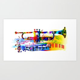 Abstract colorful music instrument painting.Trumpet, piano, musical notes, color splash, treble clef Art Print