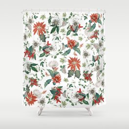Festive Red Green Botanical Poinsettia Cactus Floral Pattern Shower Curtain