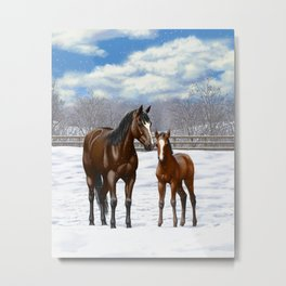 Bay Mare and Cute Foal in Winter Metal Print