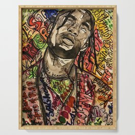 La flame,music,hiphop,poster,astro world,tour,wall art,artwork,painting,colourful Serving Tray