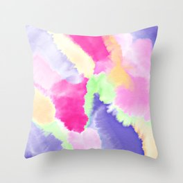Modern bright pink purple green hand painted watercolor wash pattern Throw Pillow