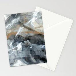 Gold black white marble look abstract painting Stationery Cards