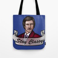 anchorman Tote Bags featuring Ron Burgundy - Stay Classy - Anchorman by Hungry Designs