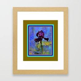 Dark Avocado Color Purple Iris Blue Painting Framed Art Print