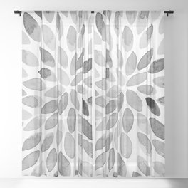 Watercolor brush strokes - black and white Sheer Curtain