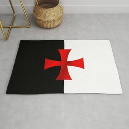 Dual color knights templar red cross Rug