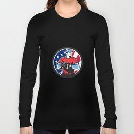 American Baseball Pitcher USA Flag Icon Long Sleeve T-shirt