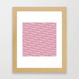 Lansing, Michigan Trendy Rainbow Text Pattern (Pink) Framed Art Print