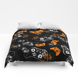 Video Game Orange on Black Comforters