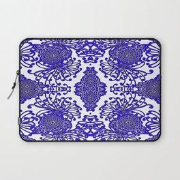 Vintage Blue-Purple  White Floral Spider Mums Art Laptop Sleeve