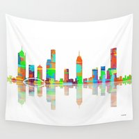 melbourne Wall Tapestries featuring Melbourne Skyline 1 by Marlene Watson