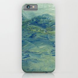 Abstract Blue Green Waves of Aqua Ocean Blue Mountains iPhone Case