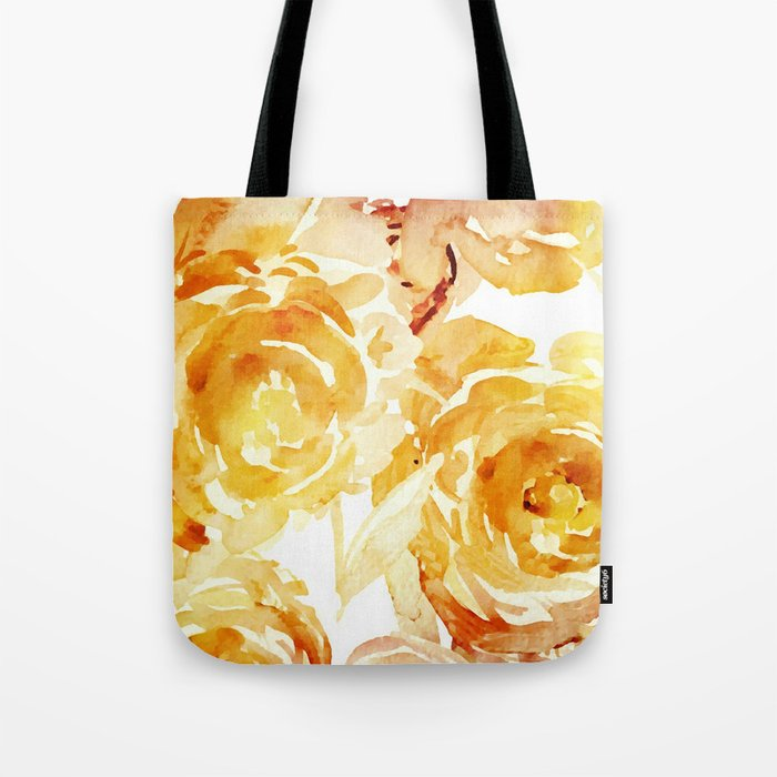 Sunny Day Painterly Floral Abstract Tote Bag